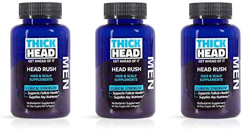 Thick Head – Head Rush Hair and Scalp Supplements for Men, 180 Softgel