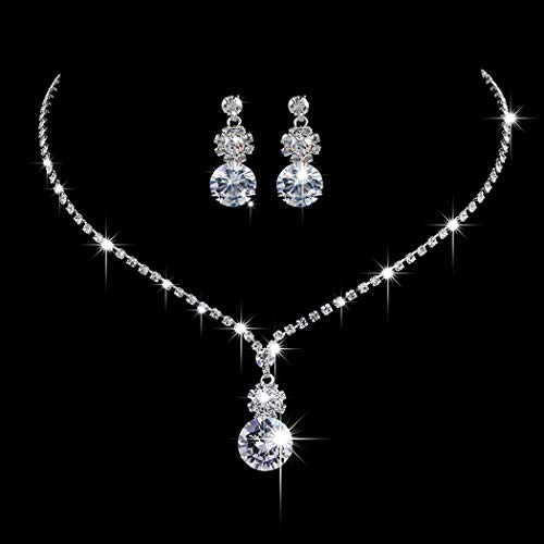Unicra Bride Silver Bridal Tassel Necklace Earrings Set Crystal Wedding Jewelry Set Pearl Choker Necklace for Women and Girls (Set of 3) (NK072-2)