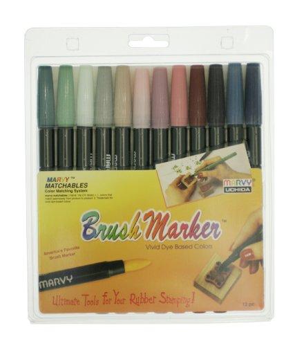12 Brush Markers Piece - Uchida 1500-12H 12-Piece Renaissance Brush Marker Set