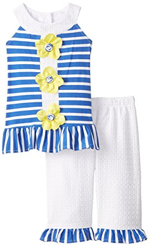 Rare Editions Little Girls' U Neck Legging Set, Blue/White, 6X Rare Editions Spring