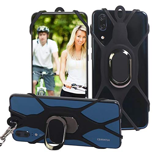 3-in-1 Cell Phone Lanyard with Hand Grip Detachable Neck Strap Protector for Smart Phones Over 5 inches (Black)