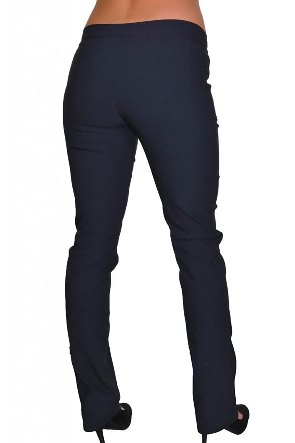 (1415-2) Everyday College Office Stretch Straight Leg Pants Navy Blue