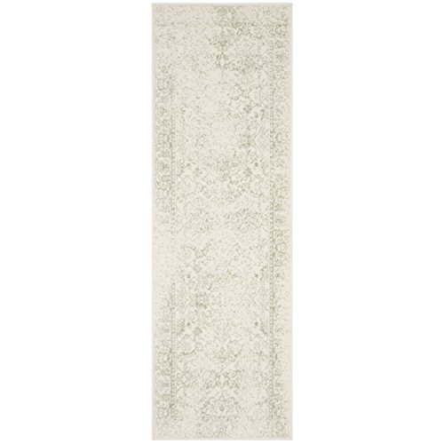 Sage 2'6 X 10' Runner - Safavieh Adirondack Collection ADR109V Ivory and Sage Oriental Vintage Distressed Runner (2'6