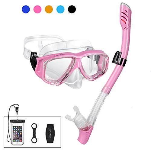 OMGear Snorkel Set Snorkeling Mask Dry Snorkel with Neoprene Mask Strap Waterproof Phone Case for Swimming Scuba Diving Freediving - Womens Snorkel