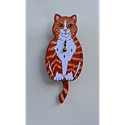 Wall Clock with SwingingTail Pendulum, Cat or Dog, Wood Frame, 31 Different Designs, Requires 2 AA Batteries(not included) for Clock and Pendulum,Quartz Movement (orange)