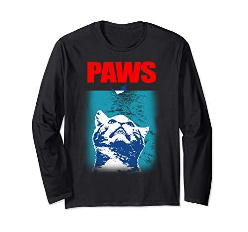 Funny Tee Paws Parody Tees for Cat Kitten Shark & Cat Lovers Long Sleeve T-Shirt (Kitty Jaws Shirt)
