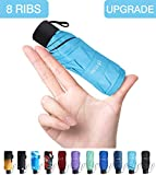 Fidus Upgraded Mini Travel Sun&Rain Windproof Umbrella - Lightweight Folding Compact Portable Parasol Outdoor Umbrellas for Men Women Kids-Blue
