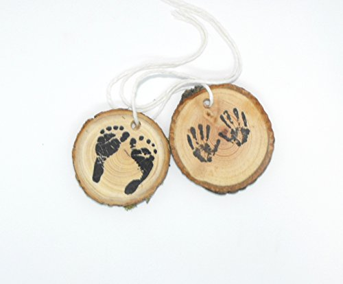 Woodland baby shower decorations, forest baby hand and feet favor hand tags. by OzarkCraftWood