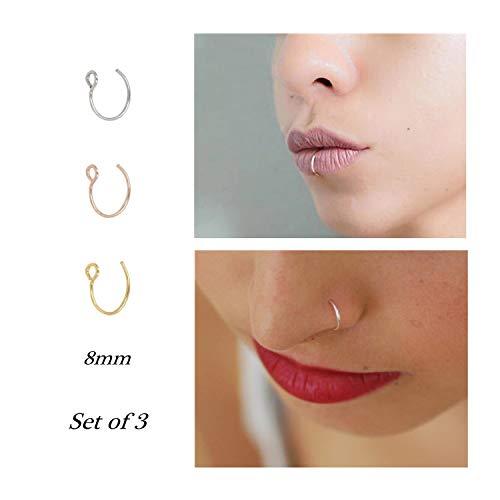 Fake Nose Ring Hoop Nose Rings Set Nose Piercing Lip Nose Rings Jewelry for Women Men Girl Gold,Rose Gold,Silver