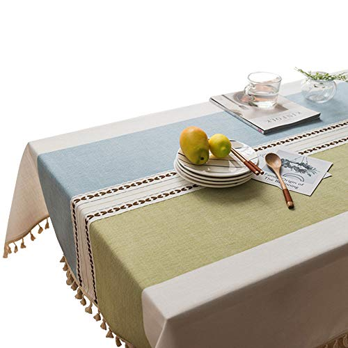 VIMOO Tassel Tablecloth Cotton Linen Washable Table Cover for Kitchen Wedding Restaurant Party Picnic (Rectangle,55x86 inch, Blue&Green)