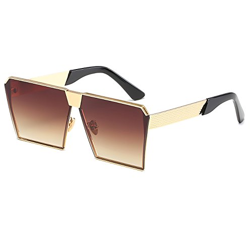 Oversized Top Sunglasses Brown Metal CVOO Sunglasses Flat Frame Square dnqq40wY
