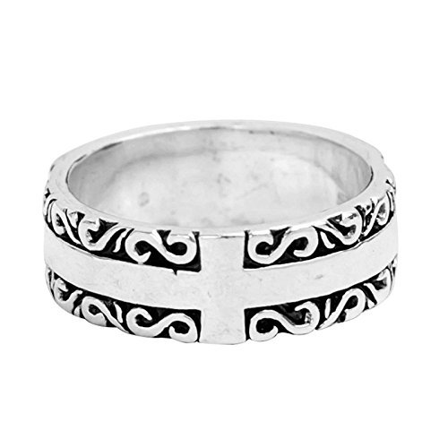 Beydodo Mens Silver Ring, Cross Ring Flower Pattern Size 11 Silver Ring for Men Hip Hop by Beydodo