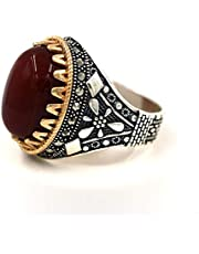 Men 's Silver Ring, Turkish Formed with Agate Stone