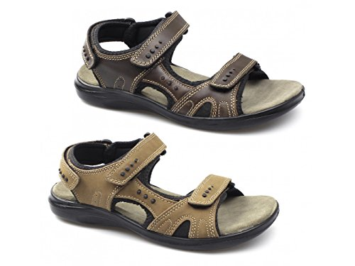 Shuperb JEFFREY Mens Triple Velcro Sports Sandals Brown Brown x5WWN