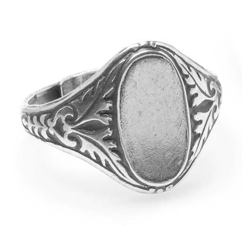Beadaholique Antiqued Silver Plated Ornate Leaves Glue-On 14x7mm Oval Signet Ring Adjustable (1)