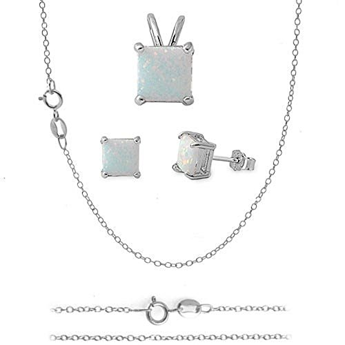 Square WHITE LAB OPAL Sterling Silver Pendant Earring 16in-18in Chain Combo Set (16 Inches, .925 Italian Sterling - Square Italian Charm Birthstone