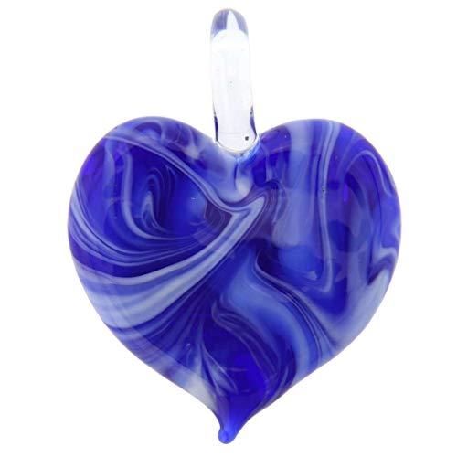 GlassOfVenice Murano Glass Venetian Marble Heart Pendant - Blue