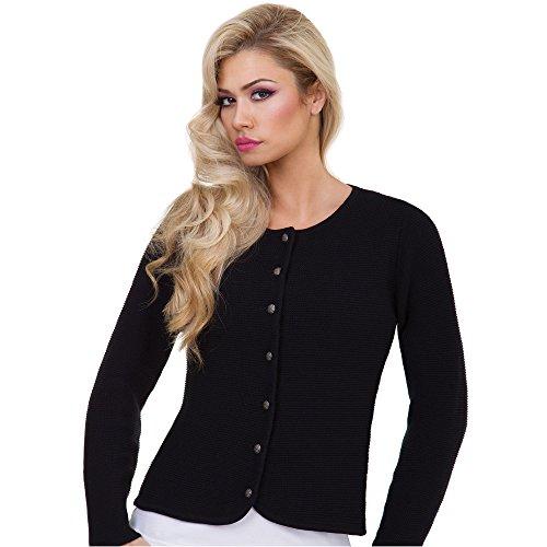 Almbock Strickjacke Evi schwarz in Größe 34 36 38 40 42 - Schwarze Damen-Trachten-Strickjacke passend zu Dirndl Midi Mini Lang, Lederhose, Trachten-Bluse