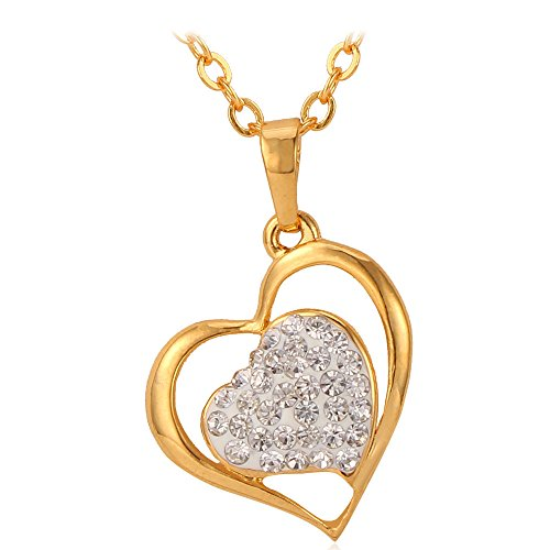 Amazon Lightning Deal 81% claimed: U7 New 18K Gold Plated Rhinestone Crystal Heart Pendant Necklace