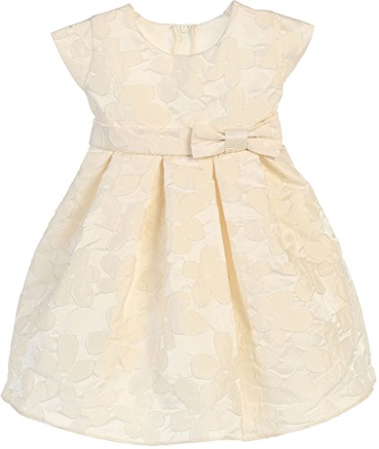 Strapless Cathedral Train - Little Baby Girls Raised Daisy Jacquard Bow Easter Flowers Girls Dresses Ivory L