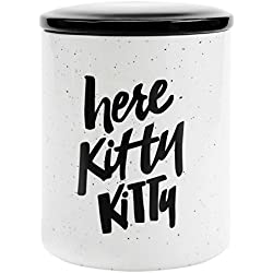 Easy, Tiger Cat Treat Jar, Here Kitty Kitty, Black and White