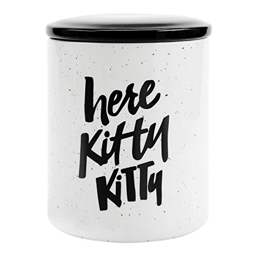 Easy, Tiger Cat Treat Jar, Here Kitty Kitty, Black and White ()