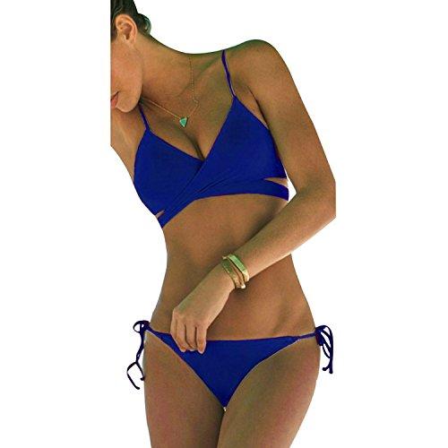 Womens Sexy Push Up Padded Swimsuit Triangle String Bikini Sets Wrap Bathinng Suit Beachwear Dark Blue UK 8