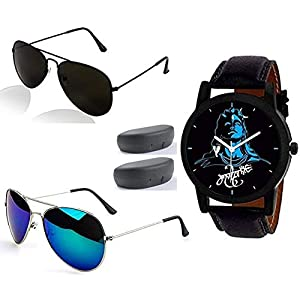 Sheomy Black Sunglasses and Watches Combo for Men Latest Metal Analogue Mahadeva Print Multicolour Dial Black Strap Leather Belt Men's Wrist Watches (3IN001 – MAHADEVA – 002)