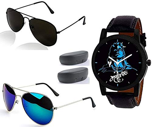 Sheomy Black Sunglasses and Watches Combo for Men Latest Metal Analogue Mahadeva Print Multicolour Dial Black Strap Leather Belt Men's Wrist Watches (3IN001 - MAHADEVA - 002)