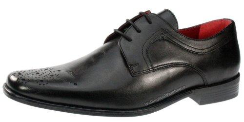 Red Tape Langdon Chaussures richelieu en cuir véritable Bout carré Homme - Noir - noir, 45 (11 UK)