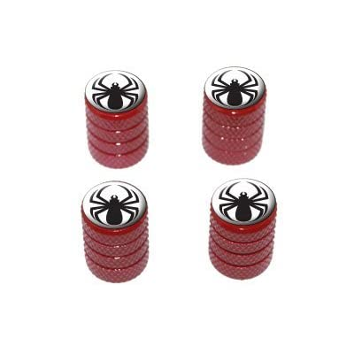 Spider Black - Tire Rim Valve Stem Caps - Red: Automotive