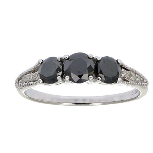 1 CT 3 Stone Black and White Diamond Ring With Milgrain Sterling Silver In Size 7