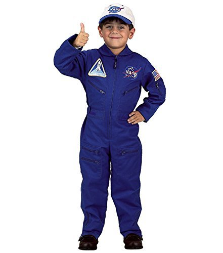 Nasa Jumpsuit (Flight Suit with Embroidered Cap Costume Size: Size 6 / 8)