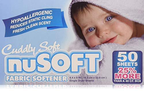 NUSOFT Hypoallergenic Fabric Softener Dryer Sheets