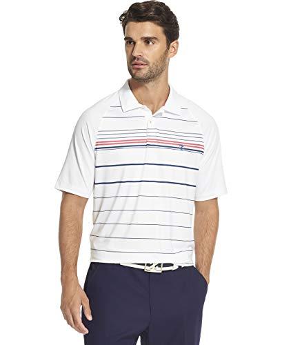 IZOD Men's Golf Fashion Short Sleeve Polo Shirt, Bright White Red Stripe, Small