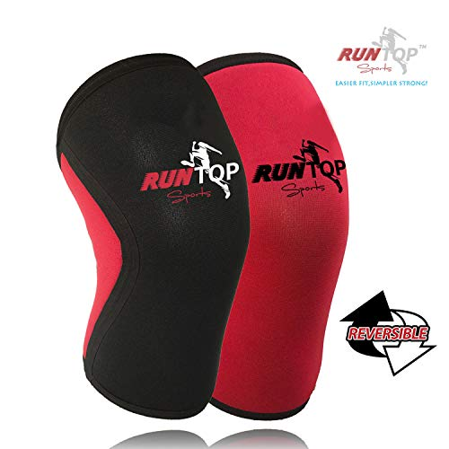Knee Sleeves (1 Pair) 7 mm Neoprene Best Knee Supports Pain Compression Brace Cap for Squats, Crossfit WODS Weightlifting Powerlifting Strong Knee Pads for Men Women (S, Black Red Reversible)
