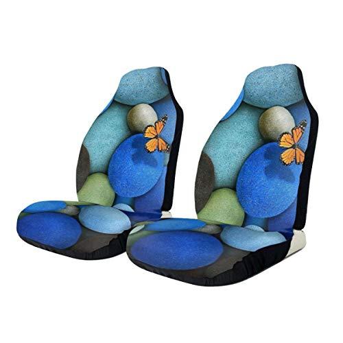 Car Seat Covers Butterfly Colorful Cobblestones Elastic Full Set Car Seat Protectors Universal Car Seat Accessories,1 PCS