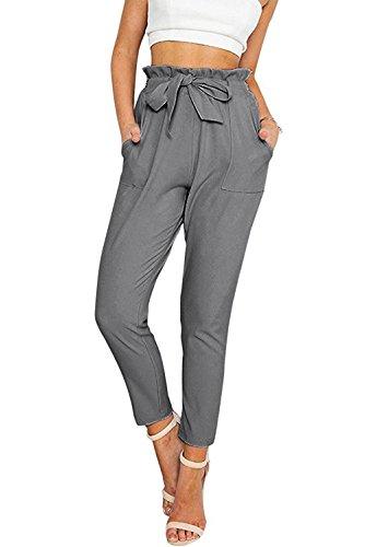 Tueenhuge Women Slim Pants Casual Straight Leg Stretch High Waist Long Pants with Pockets,Dark Grey,Medium