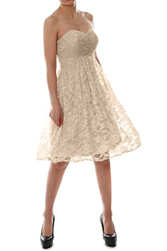 Gown Champagner Short Evening Lace Bridesmaid Strapless Party Dress MACloth Cocktail zqwU8xz