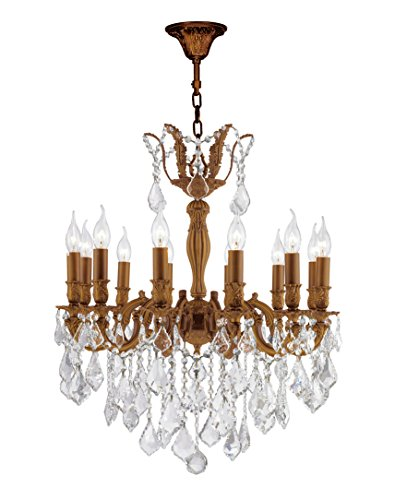 Worldwide Lighting Versailles Collection 12 Light French Gold Finish and Clear Crystal Chandelier 24
