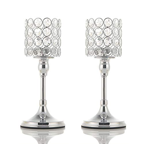 VINCIGANT Silver Long Stem Crystal Candlesticks Holder Set of 2 for Table Centerpieces Modern Gift for Anniversary Celebration,10 Inches Tall