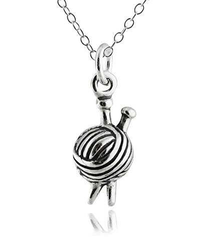 Sterling Silver Knitting Needles and Yarn Charm Pendant Necklace, 18