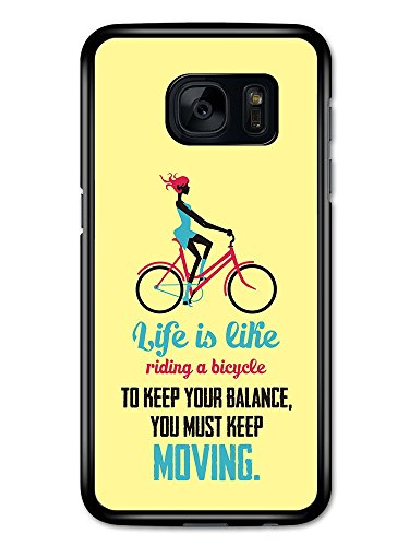 a Bicycle Albert Einstein Life & Love Inspirational Quote case for Samsung Galaxy S7 ()