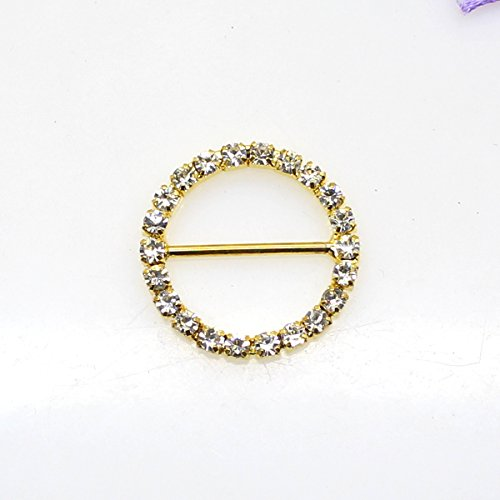 30pcs 25mm x 25mm Golden Round Shaped Rhinestone Ribbon Buckle Slider for Wedding Invitation Letter Christmas (Round Wedding Invitations)