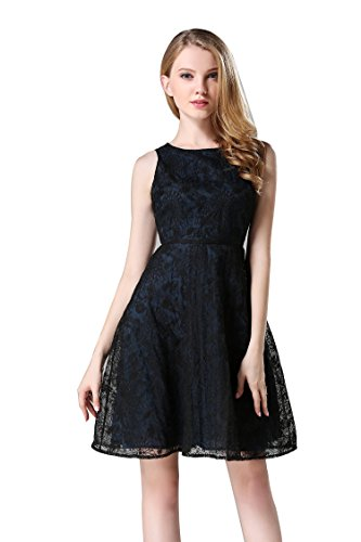 Buy light blue and black lace dress - 9