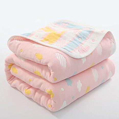 Manta de muselina orgánica para bebé, 100% algodón hipoalergénico, manta para bebé, manta térmica para bebés y niños rosa rosa Talla:59 * 79 inch: ...