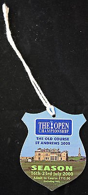 2000 BRITISH OPEN COURSE BADGE TIGER WOODS FIRST OPEN CHAMPIONSHIP PGA GOLF ()