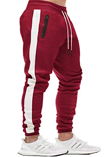 (KEFITEVD Casual Sweatpants for Men Jogger Sport Pants Elastic Waist Workout Pants Striped Running Pants with Pocket Wine Red)