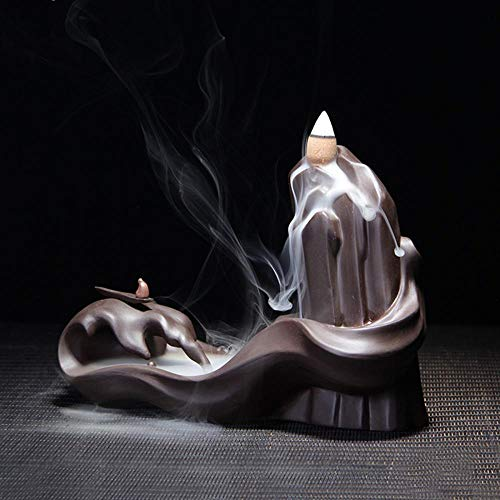 Redson Backflow Incense Burner Holder, River and Small Ship, Purple Clay Handmade with Free 10pcs Incense ()