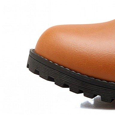 Otoño Botas Botines Para Moda Dedo Mujer Redondo Negro amp;m Heart El Tacón Tobillo Hasta Semicuero Robusto Black Zapatos Invierno De Casual Hebilla 4wIY4UqOn